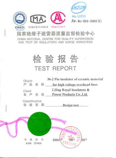 56-2 porcelain pin type insulators test reports